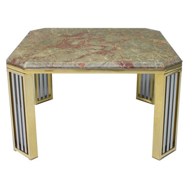Modern coffee table, marble, brass, chrome, 70s, italy, france