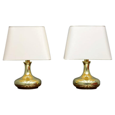 Gold, brass, table lamps, interior, design, 70s, decor