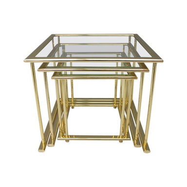 nesting tables, gold, brass, glass, table, 80s, 70s, vintage,