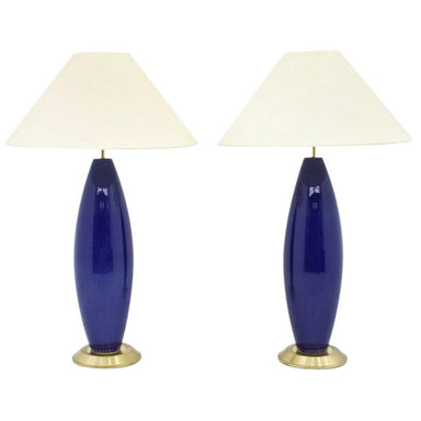 glass, table lamps, vintage, blue, brass, decor, 70s, interior, modern, lighting