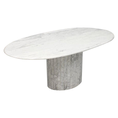 Oval Dining Table in White Carrara Marble, Italy, 1960s, italian modern, 60s, 70s, vintage