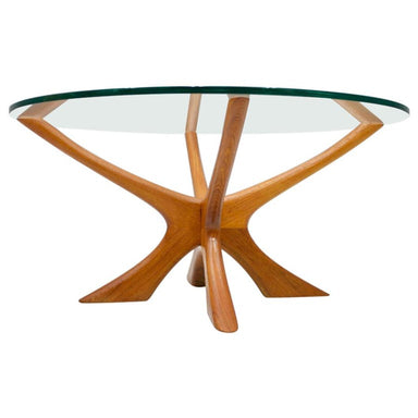 Coffee Table by Illum Wikkelso T-118 in Teak and Glass, Denmark, 1960s, Wikkelsoe, Danish modern, vintage