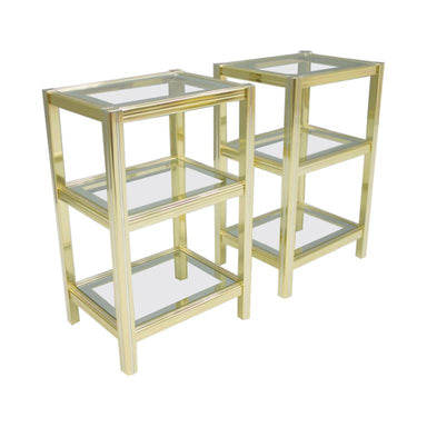 Pair of Bi-Color Side Tables Étagère, Chrom, vintage, 70s, maison,  Brass, jansen, Glass, 1970s
