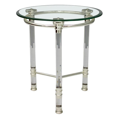 round side table, table, chrome, silver, glass, lucite, 70s, 80s, framce, french