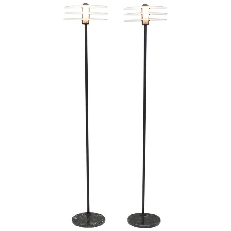 Marble, floor lamps, lamps, lighting, 80s, 90s, italy, italian modern, vintage,  black, design, glass, modern