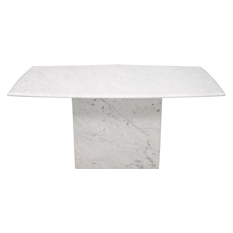 Italian Dining Table in White Carrara Marble with a Boat-Shaped Top, 1970s, 70s, vintage, stone table, natural furniture