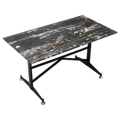 black marble coffee table, table, side table, 60s, 50s, metal, brass, italy, modern, italien, vintage