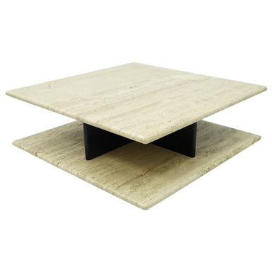 Two Tiers Coffee Table on Wheels in Italian Travertine, 1970s