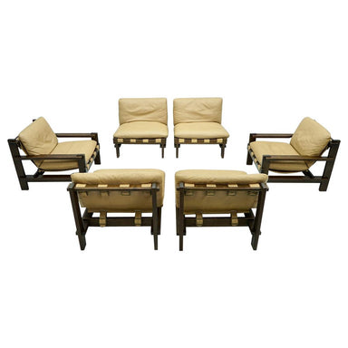 Living Room Set by Carl Straub 1960s in Oak and Leather