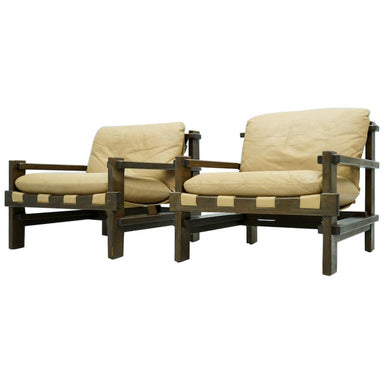 Lounge Chair by Carl Straub 60s in Oak and Light Brown Leather