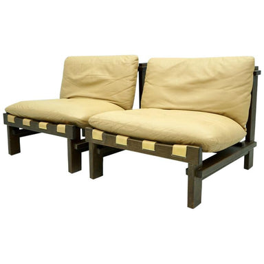 Lounge, Slipper Chairs, Carl Straub Denmark 1960s in Oak and Light Brown Leather