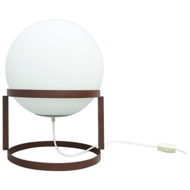 carl aubock, carl auböck, austria, brown, tischkugelleuchte, tischkugellampe, table lamp, white, glass, lamp, 60s,