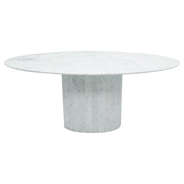 White Oval Carrara Marble Dining Table, 1970s, vintage, mid century, italian modern
