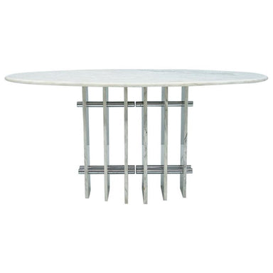 Sculptural Oval Dining Table in Carrara Marble and Chrome, Italy, 1970s