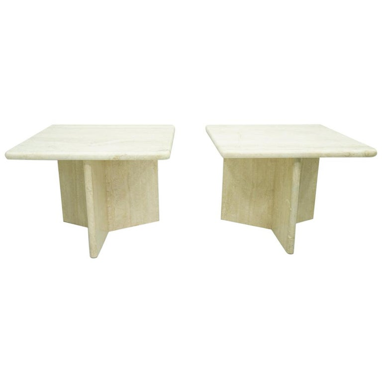 travertine side tables, table 60s, 70s, stone, Italian modern, vintage, natural furniture,