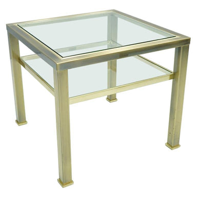 Maison Jansen, side table, table, glass, brass, 70s, france, modern, vintage