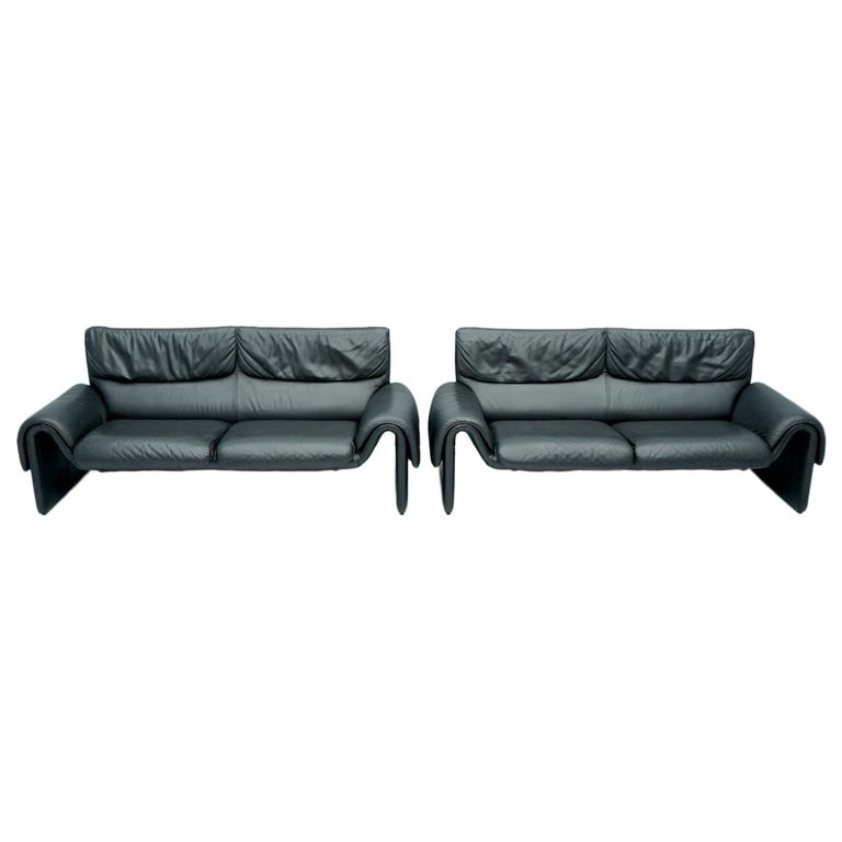 Black Two Seat Leather Sofa by De Sede Switzerland, ds 2011, swiss, design,