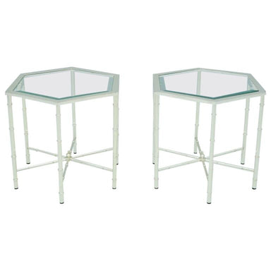 Hexagonal Side tables, table silver, glass, metal, 70s, modern, table, vintage