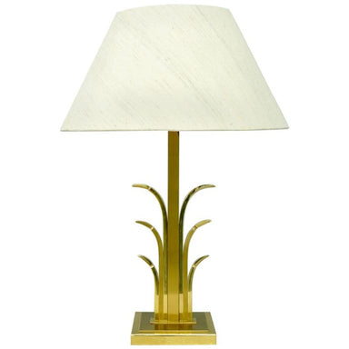 brass, palm, tree, palm tree, france, table lamp, 60s, 70s, gold, beige,