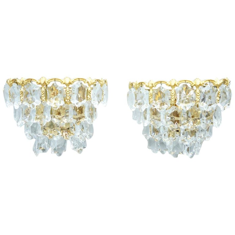 palwa, wall lights, lamps, wall amps, sconces, regency, vintage, design gold, brass, glass, crystal, 60s,