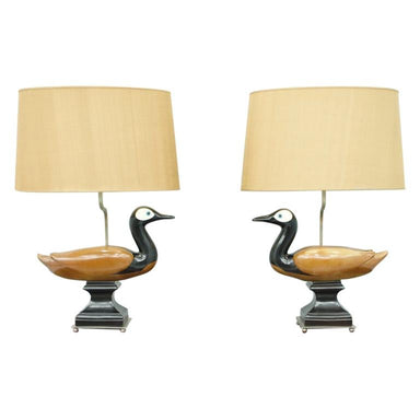 ducks, wood, table lamps, lighting, 60s, decorative, vintage