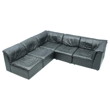 Patchwork Sectional in Black Leather Sofa 5 Elements, 1970s