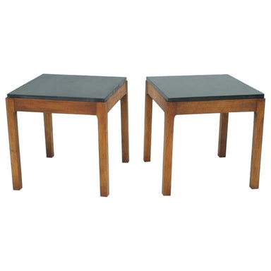 Slate side tables, teak, slate, 60s, 50s, table, stone furniture,