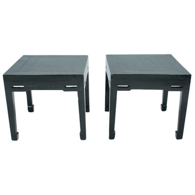 Pair of Chinese Antique Side Tables, wood, black,