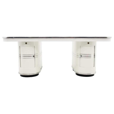 mauser, rundform, desk, berlin, metall, streamline, bauhaus, designer, classics, white, black, 50s, design,