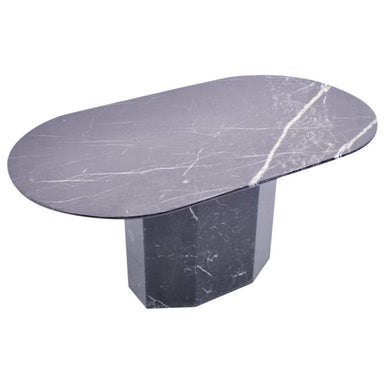 Oval Dining Table in Black Marble, 1970s