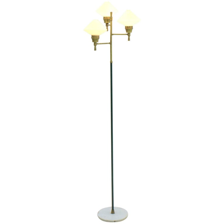 Floor lamp, lamp, lighting, italian modern, brass, metal, glass, 50s, 60s