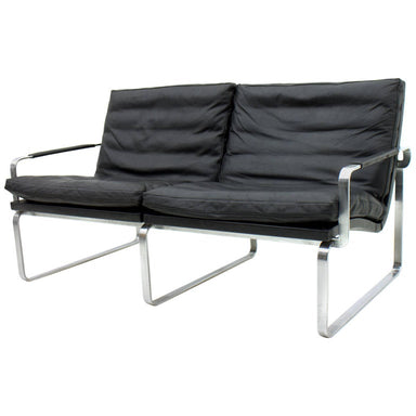 Jørgen Lund, sofa, steel,  Ole Larsen, danish modern, leather, black, kastholm,  Bo-Ex, vintage, 60s, interior design, danish modern, Scandinavian,