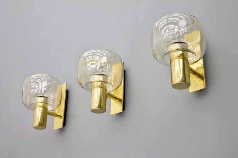 One of Three Scandinavian Brass and Glass Wall Lights, 1960s