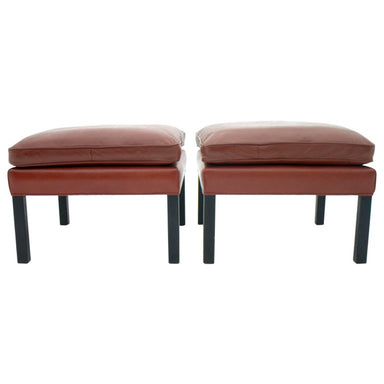 borge Mogensen, leather stool, stool, danish modern, Scandinavian, danish , red leather, interior, vintage