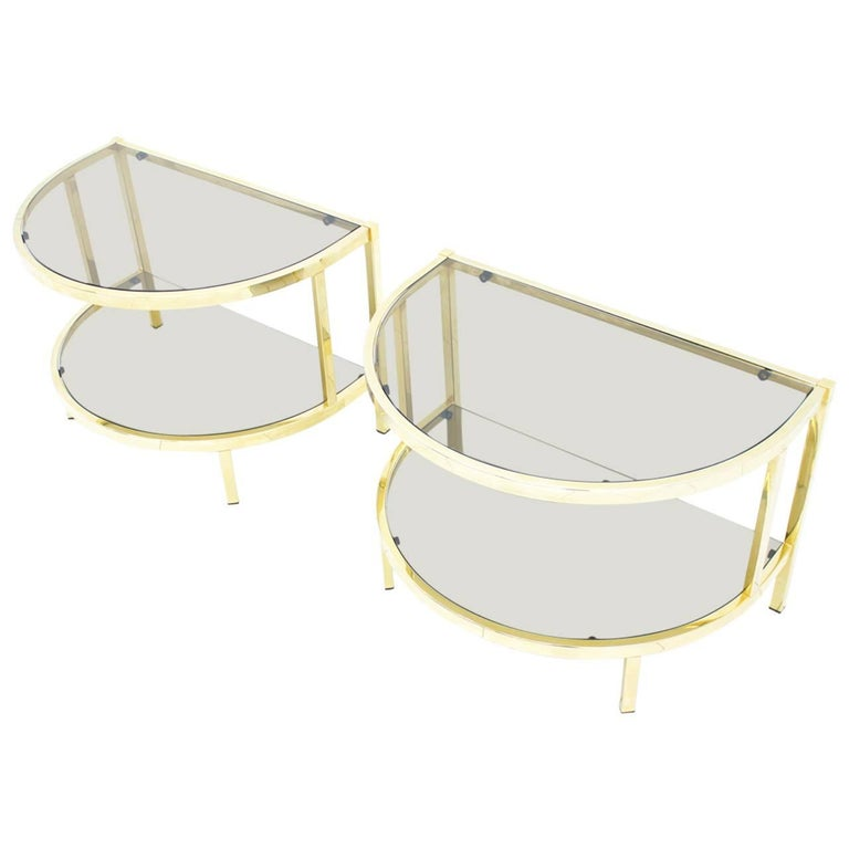 hollywood regency, side tables, table, glass, brass, 70s, modern,