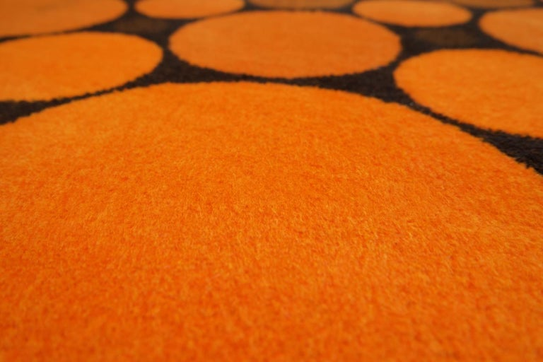 Colorful Round 1970s Carpet in Style of Verner Panton, 1970s