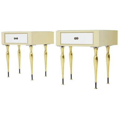 Night stands, italien modern, 60s, brass, mirror, glass, wood, white, creme, gold, side tables. chest