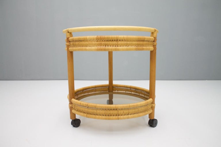 Bar Cart in Cane Wood and Glass, 1970s