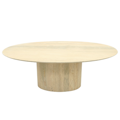 Coffee Table, Oval, Travertine, italien stone, table, stone, marble, design, pedestal, 70s, modern, beige