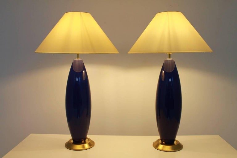 Pair of Cobalt Blue Glass Table Lamps with Brass, 1970s