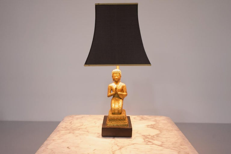 Buddha Table Lamp in Brass and Wood 1960s