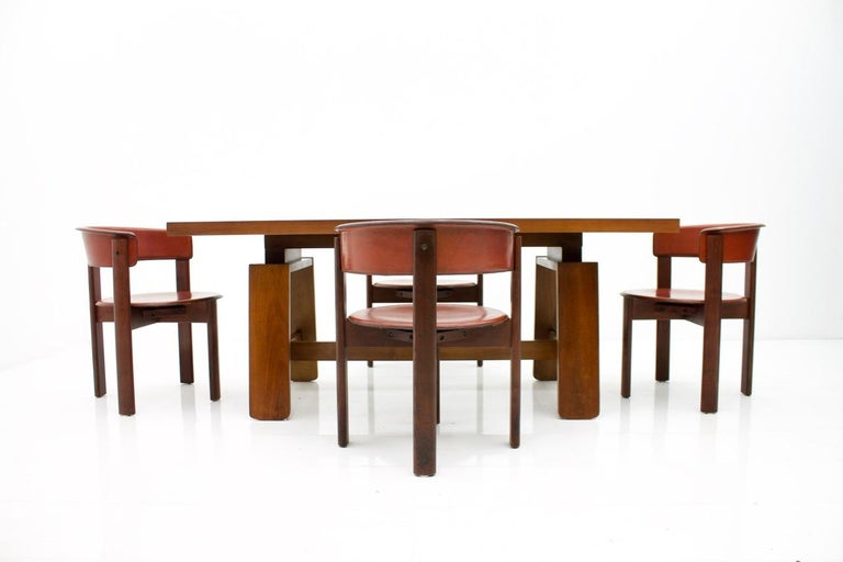 Mahogany Dining Table with Ceramic Bowl by Silvio Coppola Bernini Italy 1960