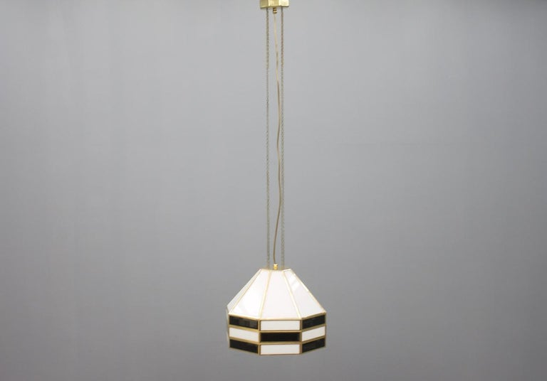 One of two rare Glass and Brass Pendant by Carl Zalloni for Cazal, 1969