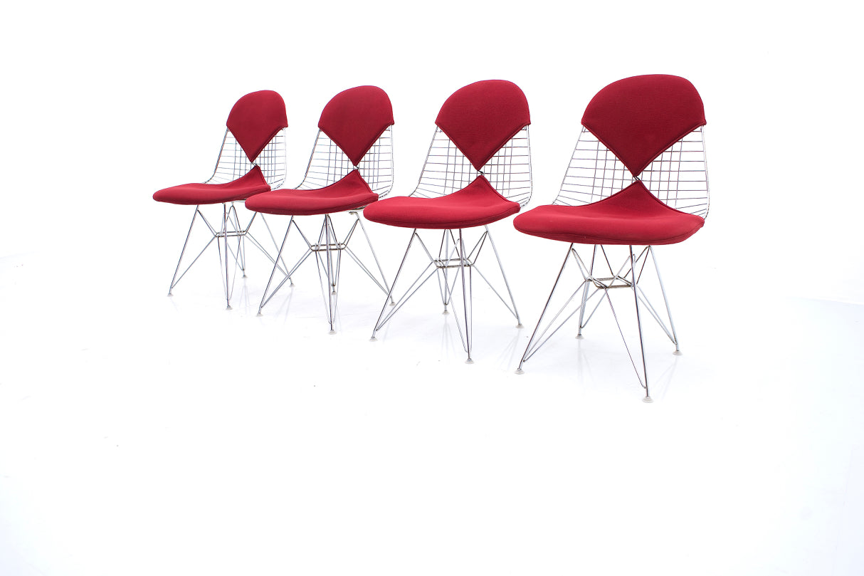 Set of Four Charles & Ray Eames DKR Wire & Eiffel Side Chairs