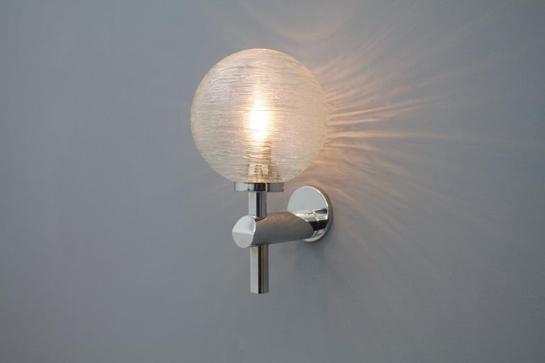 One of Eight Chrome and Glass Wall Lights Globes 1970s