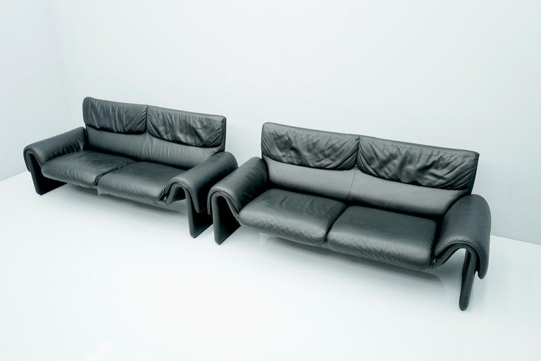 Black Two Seat Leather Sofa by De Sede Switzerland