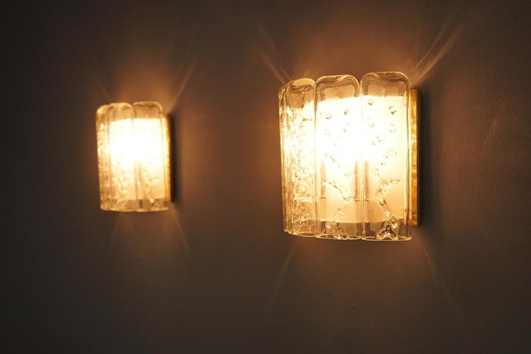 Glass and Brass Wall Light Sconces by Doria, Germany, 1970s