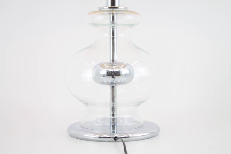 Large Glass and Chrom Table Lamp by Richard Essig, 1970s