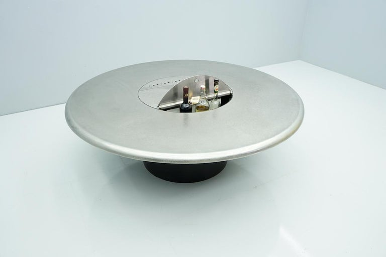 Round Coffee Table with a Bar Refrigerator Etched Metal by Heinz Lilienthal 60s