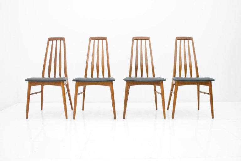 Set of Four Teak and Leather Dining Chairs Eva by Niels Koefoed, Denmark